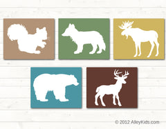 Woodland animal nursery art, deer, bear, fox, moose, squirrel