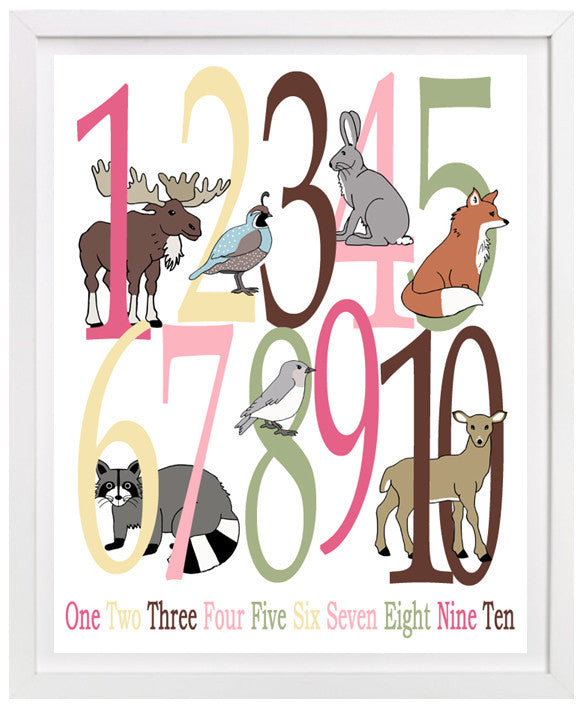 Woodland Nursery Art, Number Poster