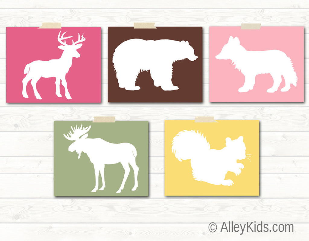 Woodland Nursery Art, deer, bear, fox, moose, squirrel
