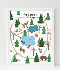 woodland nursery art print, Field guide trail map