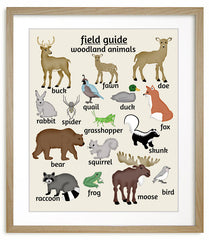 Woodland Nursery Art, Animal Poster