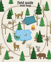 Woodland nursery art, Trail Map Poster