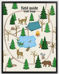 Childrens woodland nursery art, trail map poster