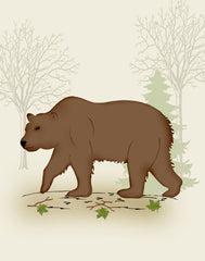 Woodland nursery bear art
