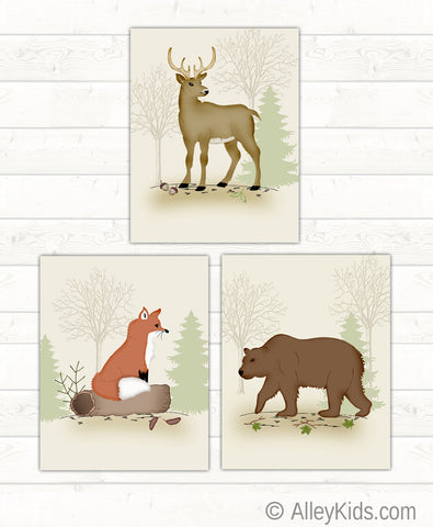 Woodland Art Prints, set of 3