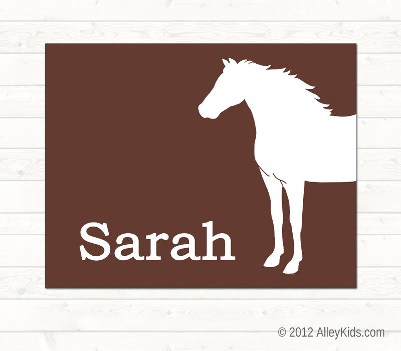 Horse Art Print, Personalized Nursery Art