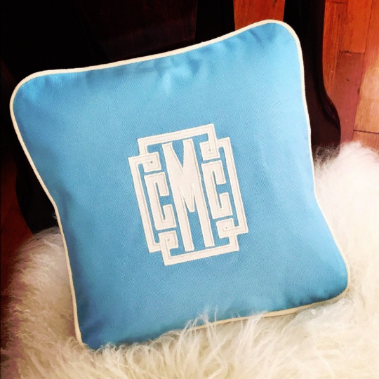 Applique Monogrammed Canvas Pillow