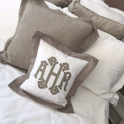 Applique Monogrammed Color Trim Pillow