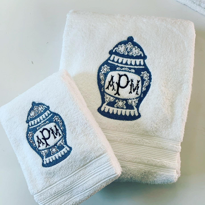 Monogrammed Ginger Jar Towel Set