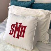 Applique Monogrammed Wedge Pillow