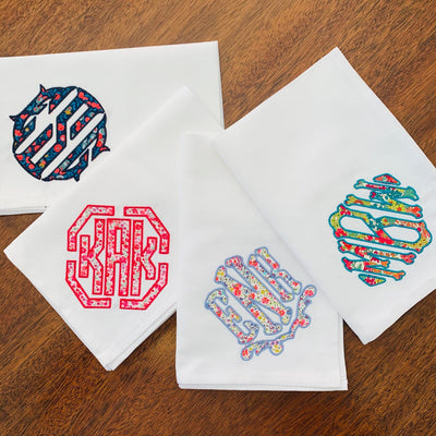 Liberty Print Applique Monogrammed Napkins - Set of Four