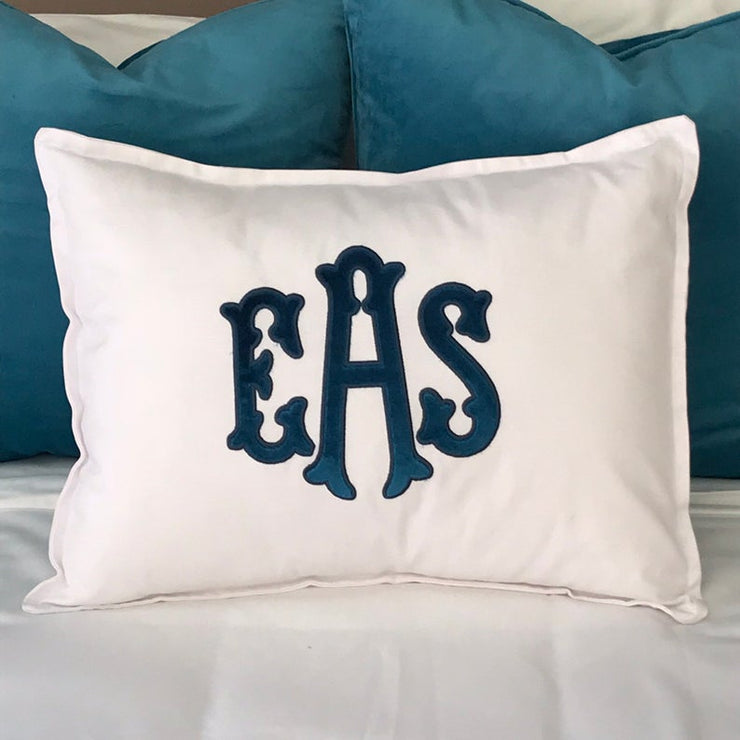 Velvet Applique Monogrammed Pillow