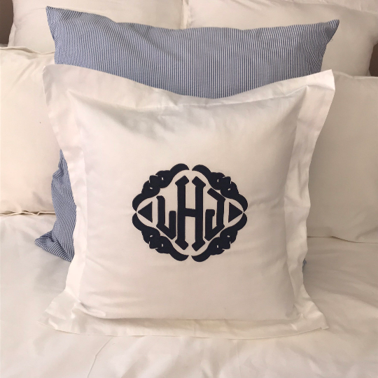 Monogrammed Applique Chambray Euro Sham