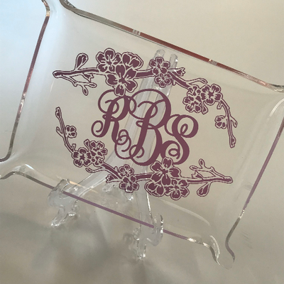 Monogrammed Pinched Edge Acrylic Tray