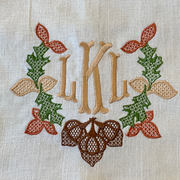 Monogrammed Autumn Wreath Towel