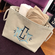 Monogrammed Canvas Basket