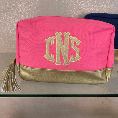 Applique Monogrammed Cosmetic Bag