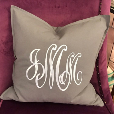 Monogrammed Cotton Pillow