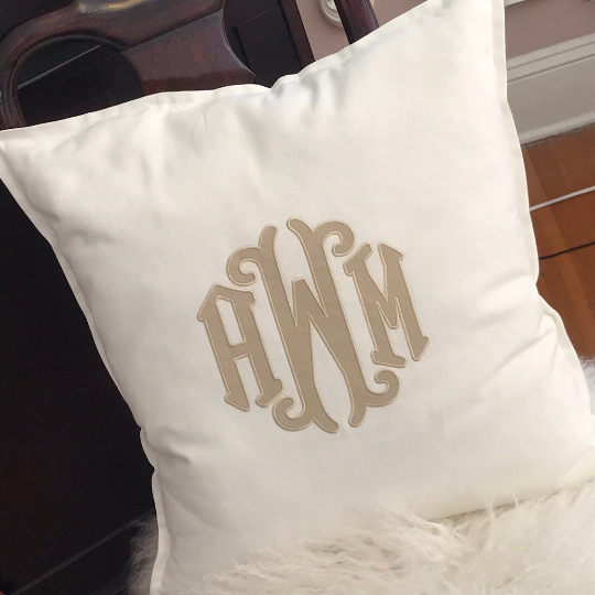 Monogrammed Applique Cotton Pillow
