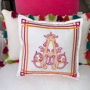 Monogrammed Fretwork Toss Pillow
