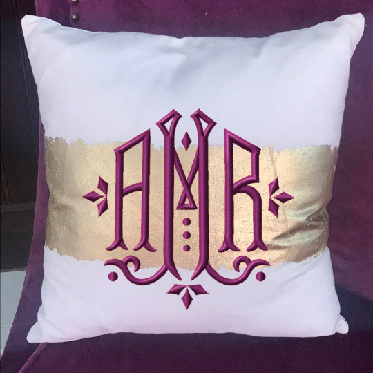 Monogrammed Gold Foil Stamped Pillow