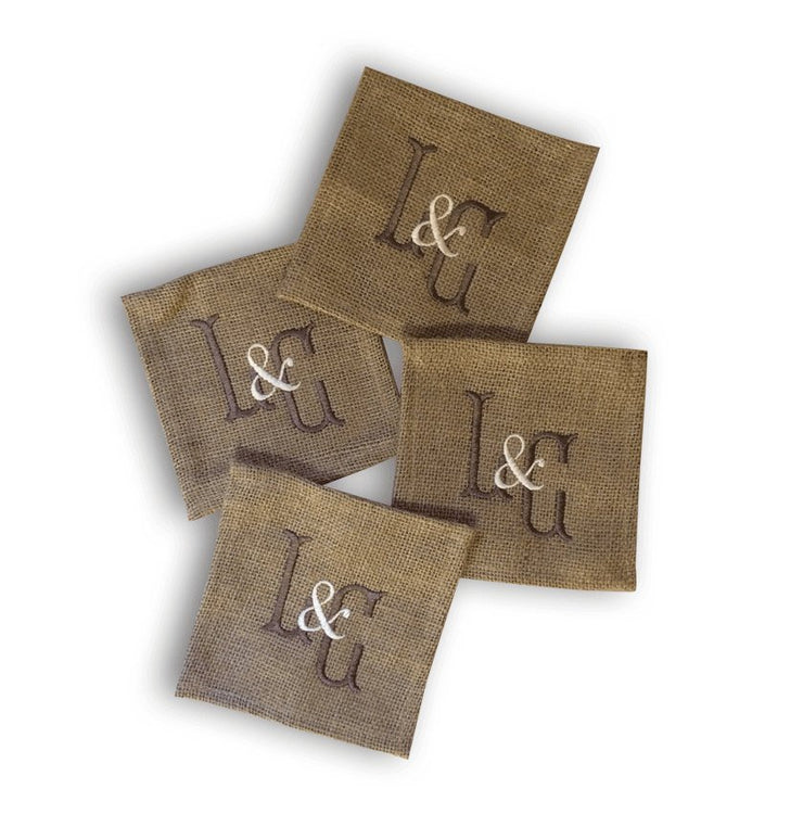 Monogrammed Burlap Coasters (set of four)