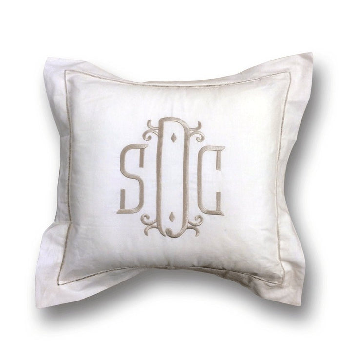 Monogrammed Hemstitch Pillow Cover