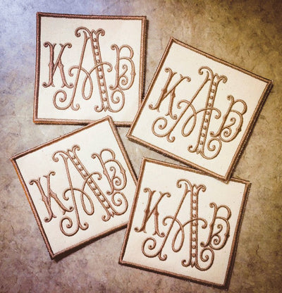 Monogrammed Canvas Coasters (set of four)