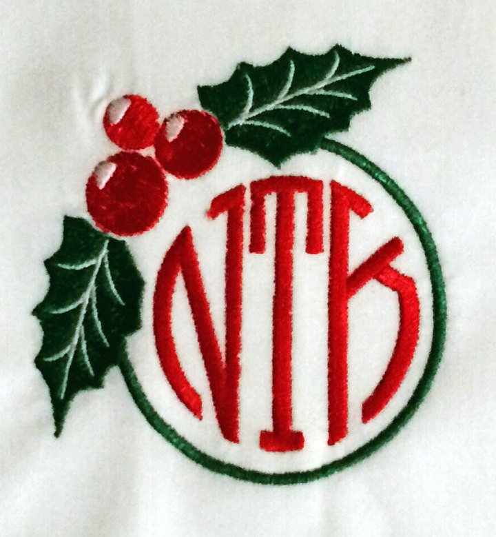Monogrammed Holiday Coasters -Set of Four