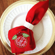 Monogrammed Holiday Napkin - Set of Four