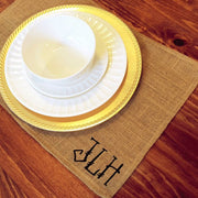 Monogrammed Burlap Placemats (set of four)