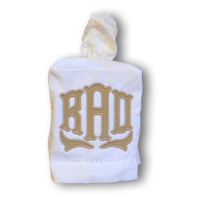 Applique Monogrammed Linen Tissue Box Cover