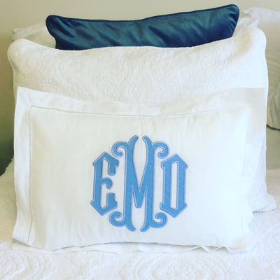 Monogrammed Applique Hemstitch Pillow