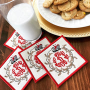 Monogrammed Santa's Sleigh Coasters -Set of Four
