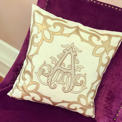Monogrammed Gold Scroll Trim Pillow