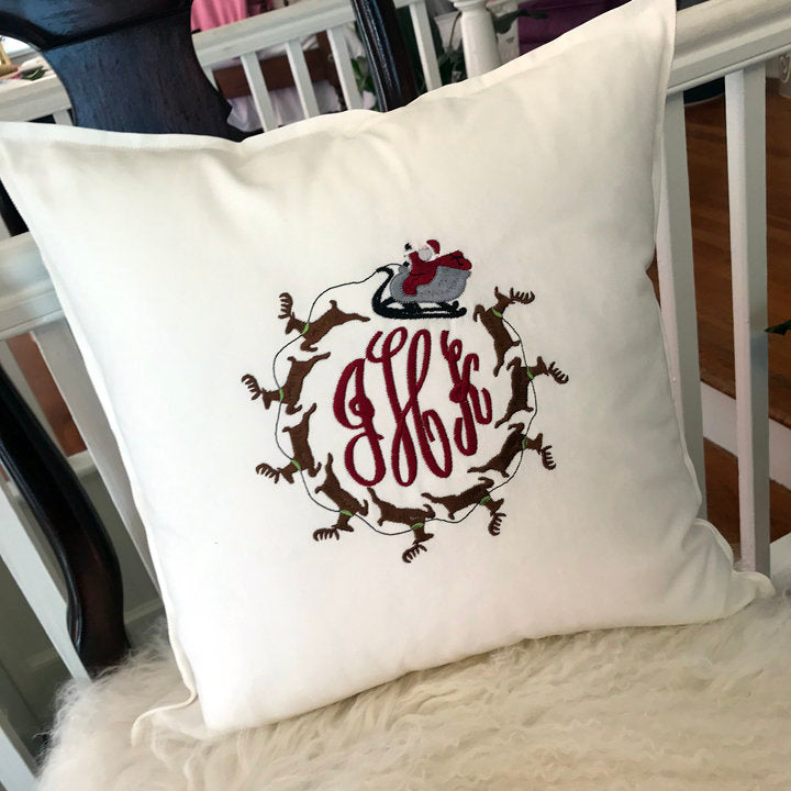 Santa's Sleigh Holiday Toss Pillow