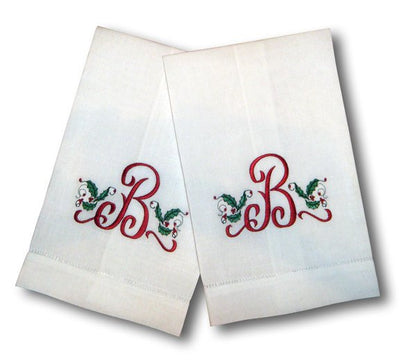 One Letter Holiday Tea Towels - Set of Two