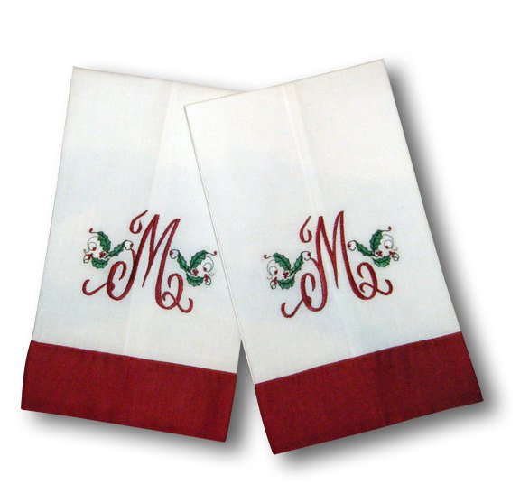 One Letter Red Trimmed Holiday Tea Towels - Set of Two