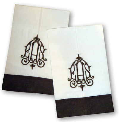 Monogrammed Linen Color Trim Towels - Set of Two