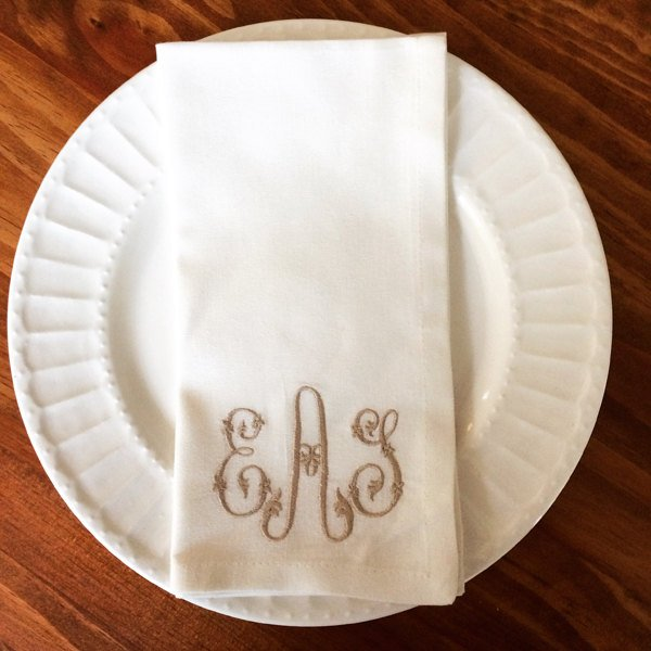 Monogrammed Cotton Napkin - Set of Four