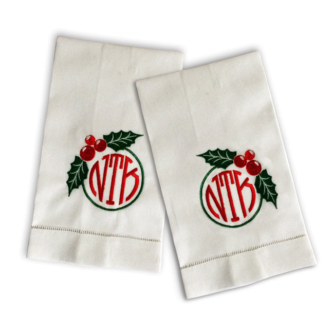 Monogrammed Holiday Tea Towels - Set of Two