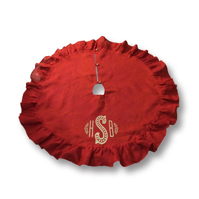 Monogrammed Cotton Christmas Tree Skirt