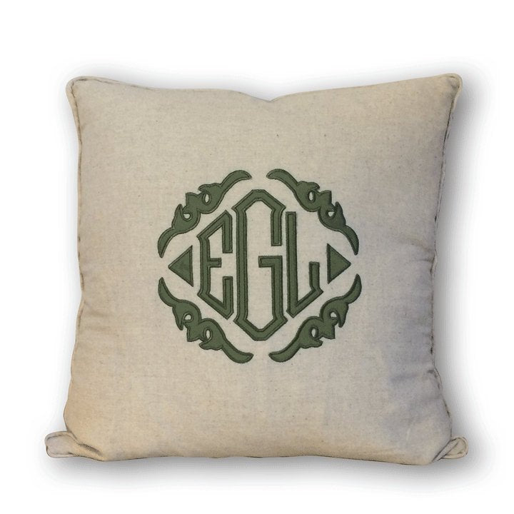 Monogrammed Applique Linen Pillow