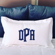 "Applique Monogrammed 24"" Lumbar Pillow with Flange"