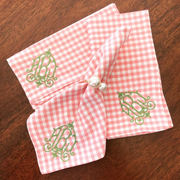 Monogrammed Pink Gingham Napkin - Set of Four