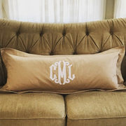 "Applique Monogrammed 36"" Lumbar Pillow"