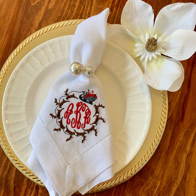 Monogrammed Santa's Sleigh Holiday Napkin - Set of Four