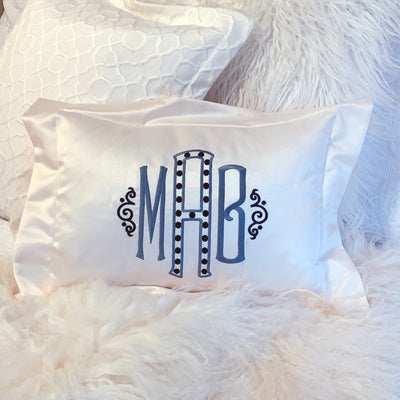 Monogrammed Satin Boudoir Pillow