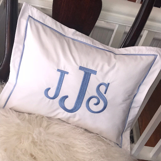 Monogrammed Pillow with Satin Stitch Trim