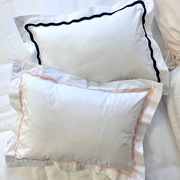 Monogrammed Wave Stitch Trim Pillow